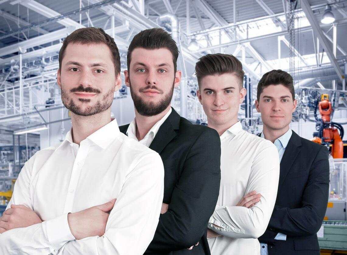 3dee Team auf Industrie Hintergrund