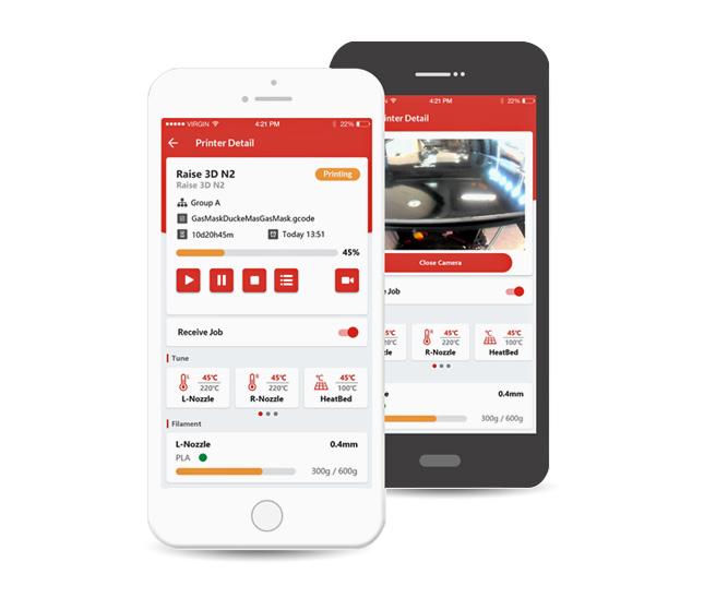 Raise 3D RaiseCloud für Mobilgeräte
